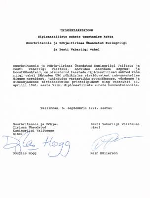 1991 Ühisdeklaratsioon. Foto: välisministeeriumi arhiiv