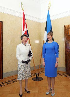 Printsess Anne kohtumas Eesti Vabariigi Presidendi Kersti Kaljulaidigaga Kadriorus. Foto: välisministeeriumi arhiiv